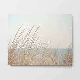 Beach Grass Photography, Calming Coastal Photo Print, Relaxing Beach House Photograph, Seaside Photo Metal Print