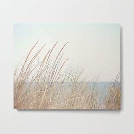 Beach Grass Photography, Calming Coastal Photo Print, Relaxing Beach House Photograph, Seaside Photo Metal Print