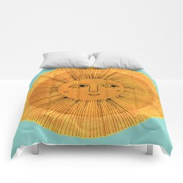 Sun Drawing Gold and Blue Comforters