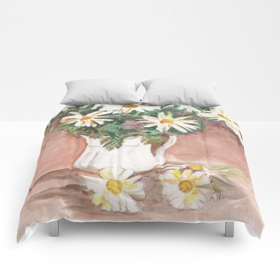 Still Life of Daisies Comforters