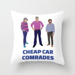 """Cheap Car Comrades"" - Clarkson, Hammond and May art work Throw Pillow"