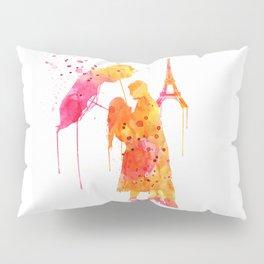 Watercolor Love Couple in Paris Pillow Sham