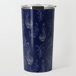 Peacock on Blue Travel Mug