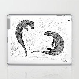 Swimming Otters Linoprint Laptop & iPad Skin