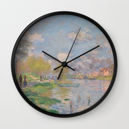 Spring by the Seine by Claude Monet Wall Clock