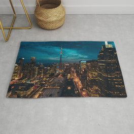 Canada Photography - Toronto Train Station In The Night Rug
