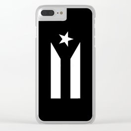 Puerto Rico Black & White Protest Flag Clear iPhone Case