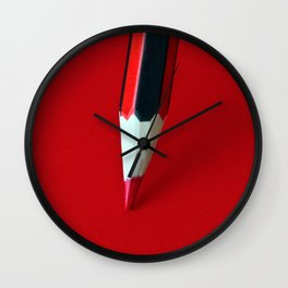Crayon rouge red Wall Clock