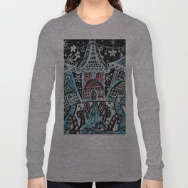 Christmas Snow Village on Black Long Sleeve T-shirt