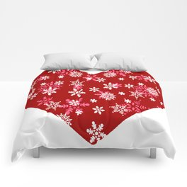 Red Heart Of Snowflakes Loving Winter and Snow Comforters