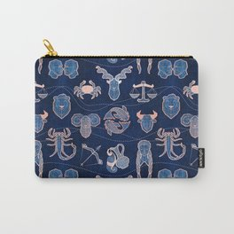 Geometric astrology zodiac signs // navy blue and coral Carry-All Pouch
