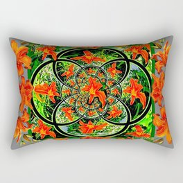 ORANGE DAYLILIES GREEN GARDEN GREY GEOMETRIC Rectangular Pillow
