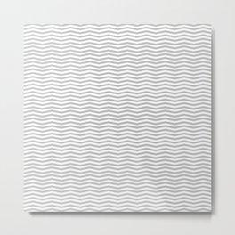 Silver and White Christmas Wavy Chevron Stripes Metal Print