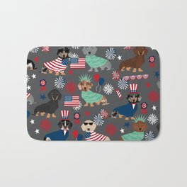 Dachshund july 4th patriotic dog breed pattern doxie dachsie lovers america Bath Mat
