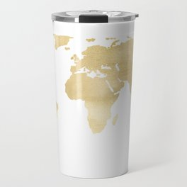 Gold World Map Travel Mug