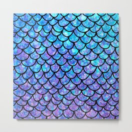 Purples & Blues Mermaid scales Metal Print
