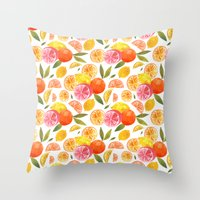 oana befort Throw Pillows featuring CITRUS by Oana Befort
