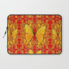 GOLDEN YELLOW BUTTERFLIES RED PATTERN ABSTRACT Laptop Sleeve