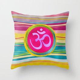 Colorfull Glitter OM symbol on  Pattern Throw Pillow