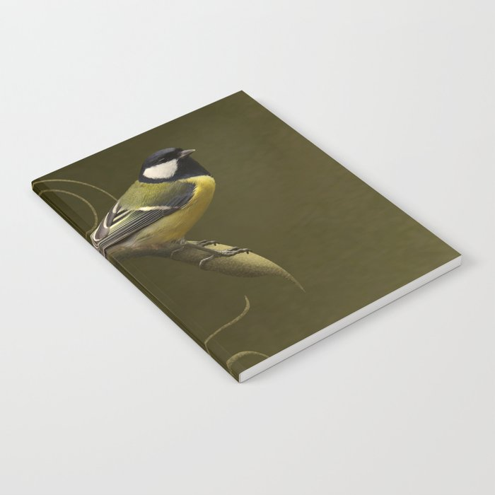 Great tit on swirled branch Notebook