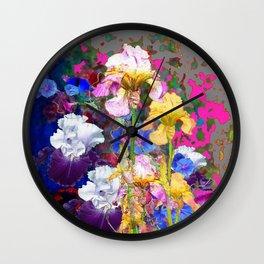 PINK-YELLOW PURPLE IRIS GARDEN GREY ART Wall Clock