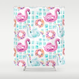 Summer flamingo pool floats. Watercolor flamingo, unicorn pool float, ring donut lilo floating in blue swimming pool. Vintage hand painted illustration pattern Shower Curtain