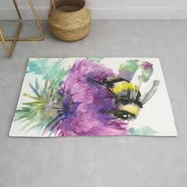 Bumblebee and Thistle Flower, honey bee floral Rug