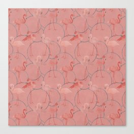 Walk with pink flamingos on coral pink Canvas Print