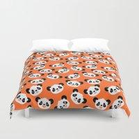 pandas Duvet Covers featuring Happy Pandas by Sara Showalter