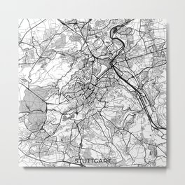 Stuttgart Map Gray Metal Print