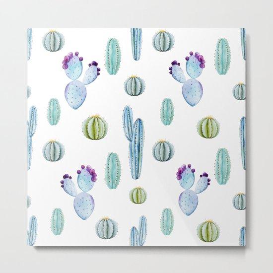Cactus Pattern 01 Metal Print