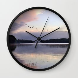 Uplifting II: Geese Rise at Dawn on Lake George Wall Clock