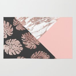 Blush Pink Rose Gold Marble Swiss Cheese Leaves Rug