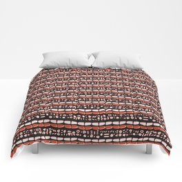 Trendy Brick Red Abstract Drawn Cryptic Symbols Comforters