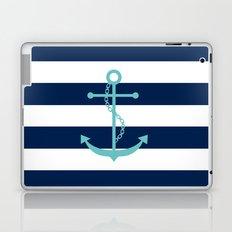 Aqua Anchor Shape on Wide Stripes Pattern Laptop & iPad Skin