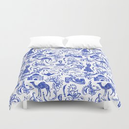 Arabian Nights // China Blue Duvet Cover