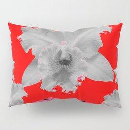 MODERN ART RED ART NOUVEAU WHITE ORCHIDS ART Pillow Sham