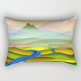 Fantasy valley naive artwork Rectangular Pillow