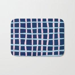 Pink and Blue Grid Bath Mat