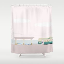 Seaside Bus stop Shower Curtain