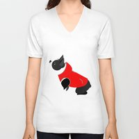 boston terrier V-neck T-shirts featuring Boston Terrier by Marstella