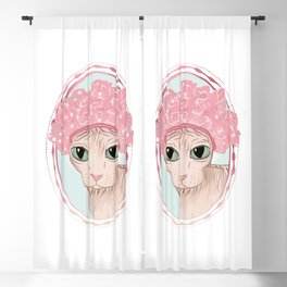 Hairless Sphynx Cat in a Pink Shower Cap  Blackout Curtain