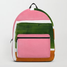 Colorful Minimalist Mid Century Modern Shapes Pink Olive Green Yellow Ochre Rothko Minimalist Square Backpack