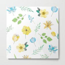 Modern Beauty Flower Pattern Art Metal Print