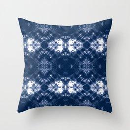 Shibori Tie Dye 1 Indigo Blue Throw Pillow
