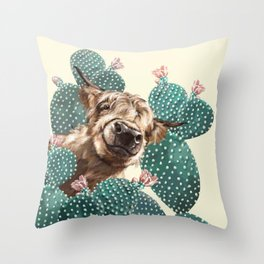 Sneaky Highland Cow and Cactus in yellow Throw Pillow