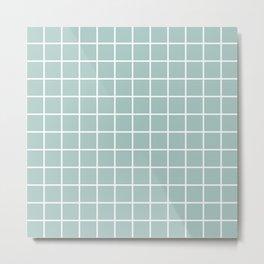 Minimalist Window Pane Grid, Sea Foam and White Metal Print