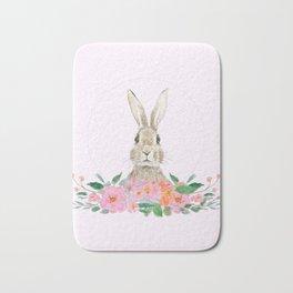 rabbit and pink camellia flower Bath Mat