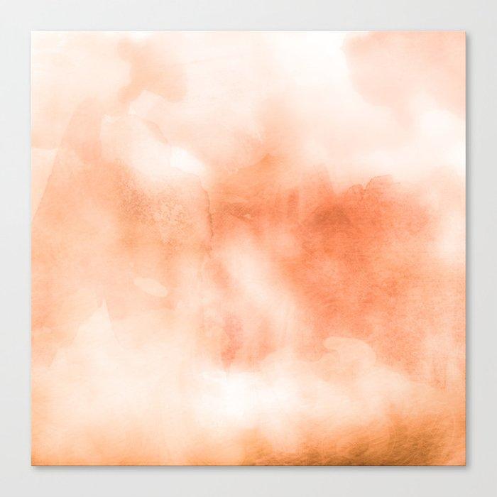 95fa75b01249 Coral peach orange pastel ikat watercolor hipster watercolour boho chic tie  dye Canvas Print