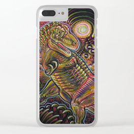 End of the World Party (Tyrannosaurus rex + UFOs) Clear iPhone Case